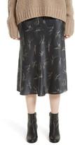 Vince Women's Spring Floral Pull-On Silk Midi Skirt