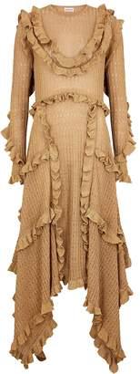 By Malene Birger Erna Gold Ruffle-trimmed Metallic-knit Dress