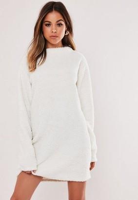 Missguided Cream Borg Teddy Crew Neck Sweater Dress