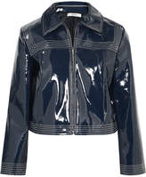 Ganni Cropped Faux Patent-leather Jacket - Navy