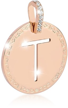 Rebecca Rose Gold-plated Bronze & Zirconia T Charm W/Rhodium-plated Necklace