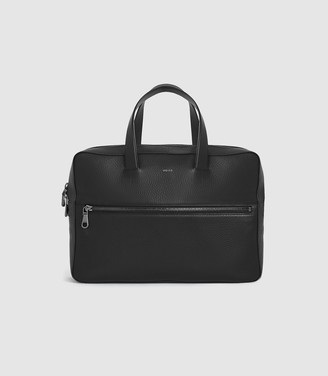Reiss Issac - Leather Laptop Carrier in Black