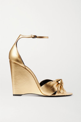 Saint Laurent Bianca Knotted Metallic Leather Wedge Sandals - Gold