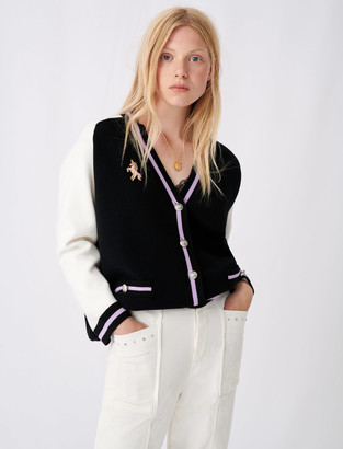 Maje Bicolour college cardigan with patch
