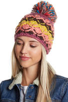 Cara Accessories Sweater Hat With Multicolored Fringe Pompom