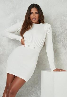 Missguided Cream Rib Shoulder Panel Mini Dress