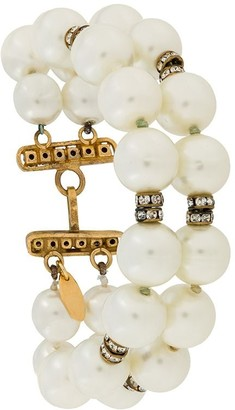 Chanel Pre Owned 1980s Two-String Faux Pearls Bracelet
