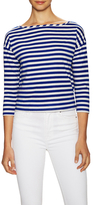 Milly Cotton Stripe Inset Shoulder Tee