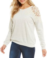 Living Doll Long-Sleeve Crochet Sweatshirt