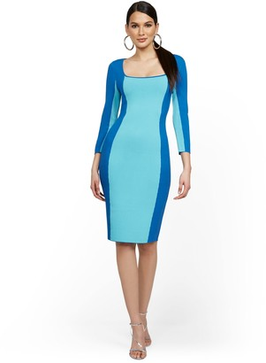 New York & Co. Blue Colorblock Sweater Dress