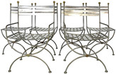One Kings Lane Vintage Savonarola Style Dining Chairs - silver/gold