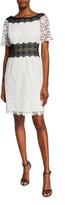 N. Shani Colorblock Bateau-Neck Short-Sleeve Floral Lace Dress
