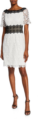 Shani Colorblock Bateau-Neck Short-Sleeve Floral Lace Dress