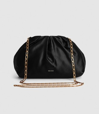 Reiss ELLENA SATIN POUCH CLUTCH Black
