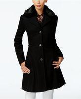 Betsey Johnson Faux-Fur-Trim Corset Walker Coat