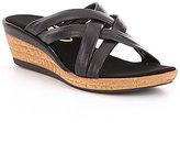 Onex Camy Leather Criss-Cross Cork Wedge Sandals