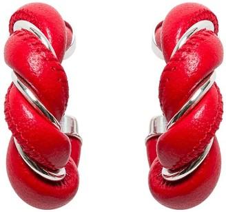 Bottega Veneta Hoop Earrings In Nappa And Silver