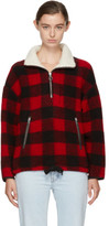 Etoile Isabel Marant Red and Black Gilas Blanket Jacket