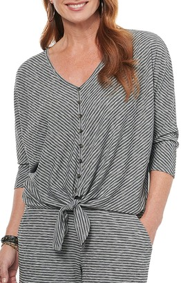 Democracy Stripe Tie Hem 3/4 Sleeve Top