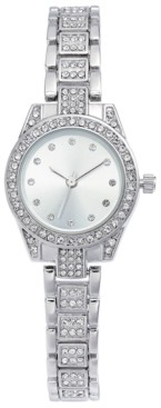 Charter Club Women's Crystal Silver-Tone Bracelet Watch 27mm, Created for Macy's