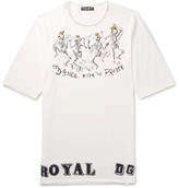 Dolce & Gabbana Distressed Printed Cotton-jersey T-shirt - White
