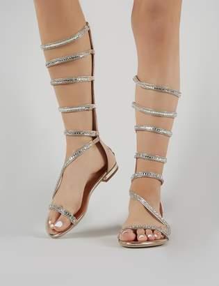 Public Desire Medina Embellished Gladiator Sandals in Rose