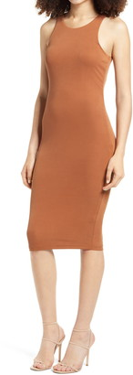 Good American Microrib Sleeveless Midi Body-Con Dress