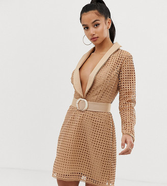 ASOS DESIGN Petite tux mini dress in broderie with belt