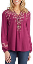 Democracy Embroidered Button-Front Blouse