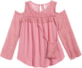 Beautees Cold-Shoulder Illusion-Lace Top and Purse Set, Big Girls (7-16)