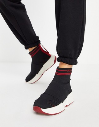 DKNY slip on sock trainers in black