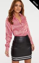 PrettyLittleThing Petite Black PU Satin Stripe Bodycon Skirt