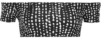 Vix Dot Printed Off-the-shoulder Bikini Top - Black