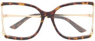 Gucci Oversized-Frame Tortoiseshell Glasses
