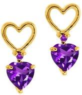 Gem Stone King 0.45 Ct Genuine Heart Shape Amethyst Gemstone 14k Yellow Gold Earrings