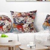 "Floral Blossoming Apple Tree Background Pillow East Urban Home Size: 16"" x 16"", Product Type: Throw Pillow"