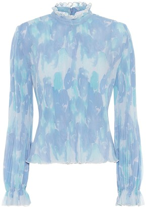 Ganni Printed pleated georgette blouse