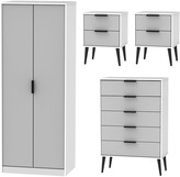 Swift Copenhagen 4 Piece Ready Assembled Package - 2 Door Wardrobe, 5 Drawer Chest and 2 Bedside Chests