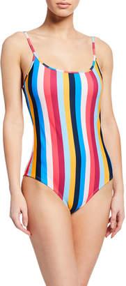 Shoshanna Rainbow Stripe Cami One-Piece Swimsuit