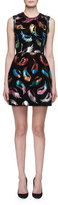 Mary Katrantzou Sparrow Sleeveless Metallic Feather-Print Mini Dress