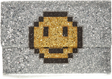 Anya Hindmarch Pixel Smiley Valorie glitter clutch