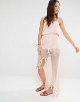 MinkPink Crochet Front Split Maxi Beach Dress