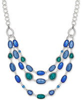 Nine West Silver-Tone Blue Stone Multi-Row Necklace