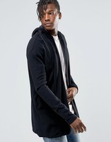 Pull&bear Hooded Cardigan In Black