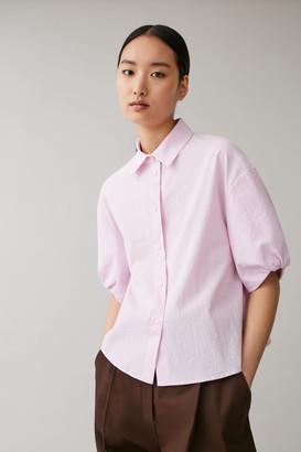 Cos Cotton Puff Sleeve Seersucker Shirt