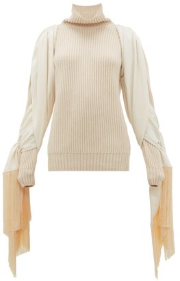 Hillier Bartley Fringed-sleeve Roll-neck Cashmere Sweater - Cream