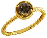 Gem Stone King 0.46 Ct Round Smoky Quartz 14k Yellow Gold Ring