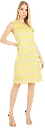 M Missoni Sleeveless Jersey Zigzag Shift Dress (Yellow) Women's Clothing