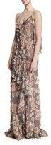Jason Wu Plaid Chiffon Gown w/Floral Appliques, Fawn/Multi