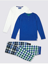 Marks and Spencer 2 Pack Placket Checked Pyjamas (3-16 Years)